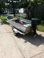 12 Ft Aluminum Fishing boat with motor and trailer