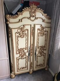 Hand Carved ornate reproduction French Wardrobe