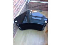Large corner black and silver glass tv stand