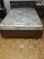 VINTAGE Brown Solid Wood Double Bed Frame Headboard Footboard