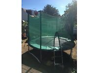 1yr old 10ft trampoline,ladder and safety net, excellent condition dismantled ready for collection