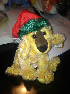 Jinglepup the Dog Ty Beanie Baby Stuffed Animal - with Santa hat