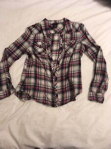 H&M plaid long sleeve shirt