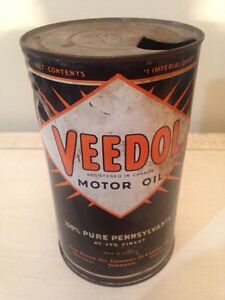 Rare Veedol Imperial quart motor oil tin can gas pump sign