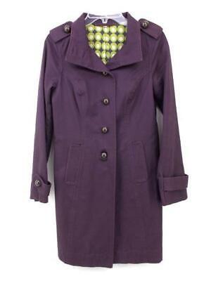 BODEN  Purple Retro Style Lightweight Twill Trench Coat Women's Sz 4 - Purple Trench Coat