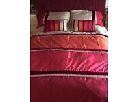 Next red curtains, duvet covers, cushions, quilted throw & lampshade
