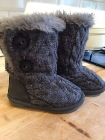 Girls size 7 fur boots from Next