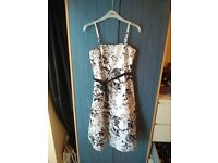 Beautiful White & Black Floral dress - perfect for wedding, prom, parties,