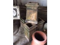 vintage square top chimney pots planter