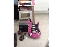 Pink Rockburn Jaxville Electric Guitar and Amp