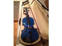 Mendini cecilio 4/4 metallic blue violin