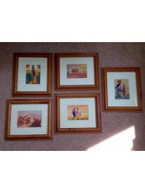 Set of 5 framed African prints