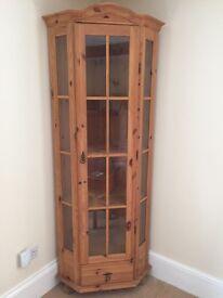 Pine Corner Display Cabinet