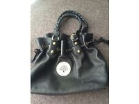 Mulberry Large Black Leather Handbag With Gold Accents