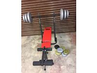 Pro power weight training bench and weights