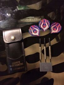 Darts set with case. Used - As new condition. Leather case. Professional.