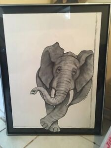 Elephant Drawing with Frame