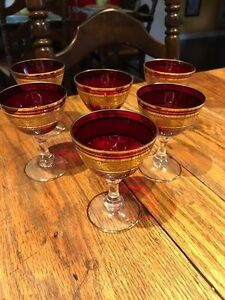 Lot of 6 VINTAGE Czechoslovakia Bohemia Glasses Ruby Red Gold
