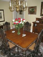 Antique Dining Room Furniture - rare, beautifully carved pieces