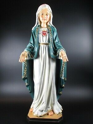 Madonna with Heart, Mary Mother of God Statue, 50 cm Polyresin Figurine, New