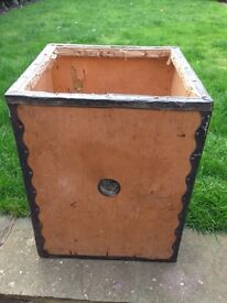 VINTAGE RETRO INDUSTRIAL CHIC TEA CHEST SAYS BUN TIN