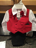 THREE PIECE RED VELVET VEST OUTFIT. BNWT