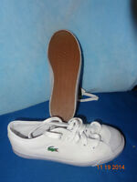 Lacoste Soulier blanc canvas white sneakers shoes running sz 5 6