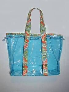 Aqua soft vinyl Carry-all Tote ..Cloth handles,Cord Closure NEW