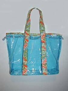 Aqua soft vinyl Carry-all Tote ..Cloth handles,Cord Closure NEW Cambridge Kitchener Area image 1