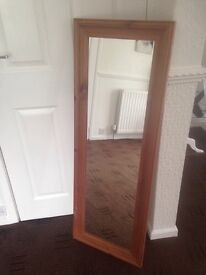Long solid wood mirror
