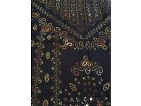 Stunning Black Shawl hand embroidered pattern