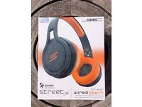 SMS Audio Street by 50 Cent. !BRAND NEW! Boxed in original film. Sport headphones. Black and Orange