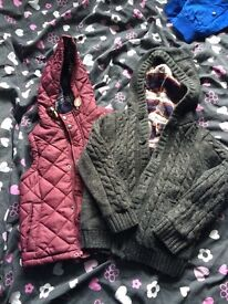 Boys red gilet and grey quilted jacket