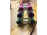 Mini hand weight dumbbells 0.5, 1 & 2 lbs approx