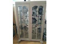 Vintage Display Cabinet, Shabby Chic Grey