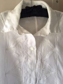 Italian, vintage, pure white, linen ladies shirt with beautiful cutwork detail.