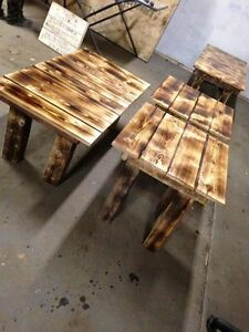 home crafted end tables and coffee tables,  games table