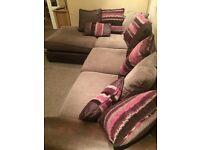 Berry/chocolate left hand corner sofa