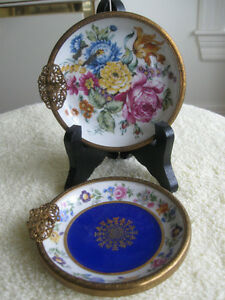 TWO EXQUISITE VERY OLD MATCHING BAVARIAN CHINA ASH TRAYS