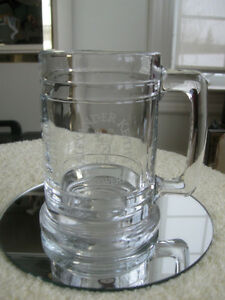 TWO OLD VINTAGE CLEAR GLASS COLLECTOR'S BEER STEINS
