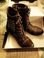 *Material Girl Brown Studded Boots For Sale* Size 8