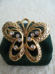 GORGEOUS OLD VINTAGE BRILLIANT HI-SHINE GOLDTONE BROOCH...'60's