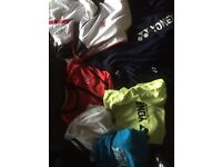 Tennis clothing and racquets