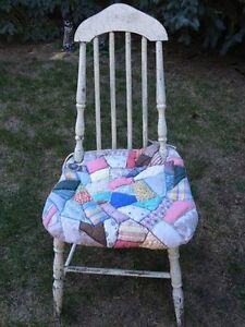 Original paint Shabby Chic Vintage Antique chair Homemade quilt