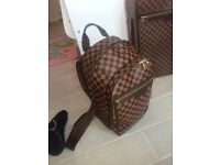 Louis Vuitton backpack men's brown checkered pattern + travel pack