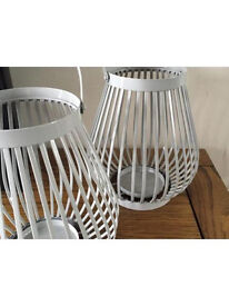 2 x Grey marks and spencer large candle holders