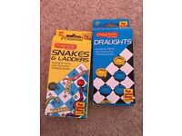 Snakes and Ladders and Draughts Travel Games (magnetic)