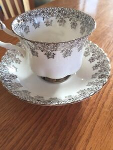 Royal Albert silver wedding tea cup and saucer Windsor Region Ontario image 5