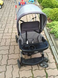 Baby Trend sit & stand double stroller + rain cover London Ontario image 6