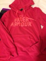 pink under armour hoodie sweater